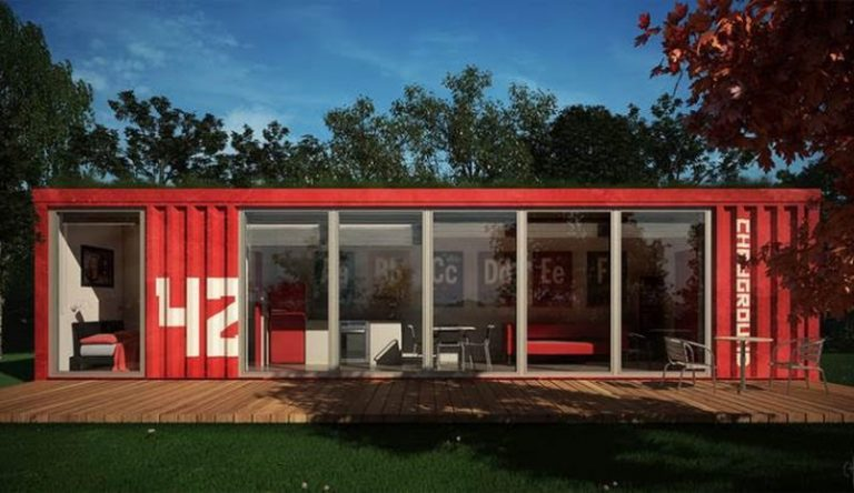 Shipping container conversion to a office
